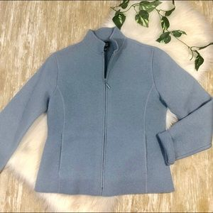 Eileen Fisher Boiled Wool Baby Blue Zip Up Jacket